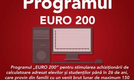 """Programul """"Euro 200""""- ajutor financiar pentru elevi și studenți în vederea achiziționării de calculatoare"""
