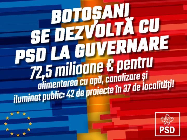 COMUNICAT PSD. Standard de viață mai ridicat pentru 136.551 de botoșăneni din 37 de localități: 72,5 milioane de euro pentru alimentări cu apă, canalizare și iluminat public