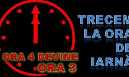 În noaptea de 26 spre 27 octombrie trecem  la ora de iarnă ora 4 devine 3
