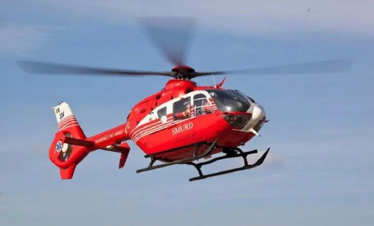 Dărăbănean în stare gravă, preluat de un elicopter SMUR